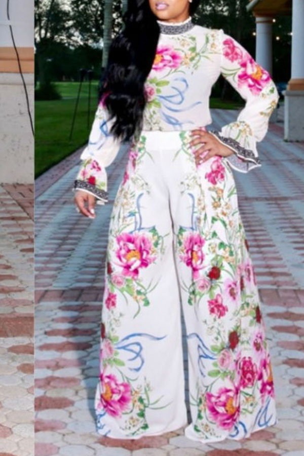 Lovely  Casual Floral Printed White Two-piece Pants Set