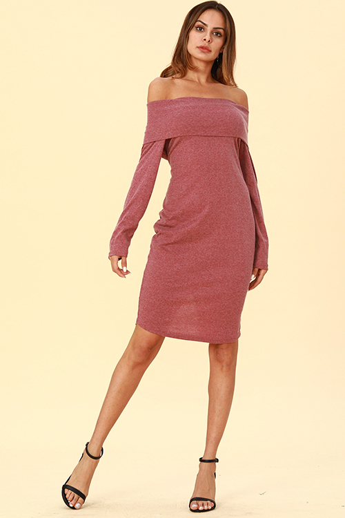 Lovely Work Dew Shoulder Wine Red Cotton Mid Calf Dress