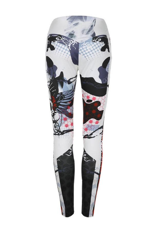 Lovely Sportswear Skull Printed White Leggings