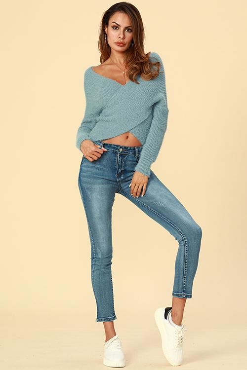 Lovely Trendy Cross-over Design   Blue Cotton  Cardigans