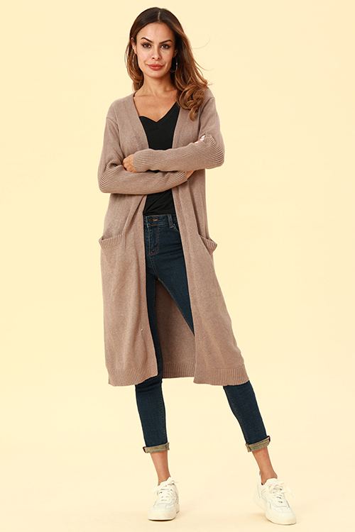 Lovely Chic Long Sleeves Light Tan Cardigan Sweaters