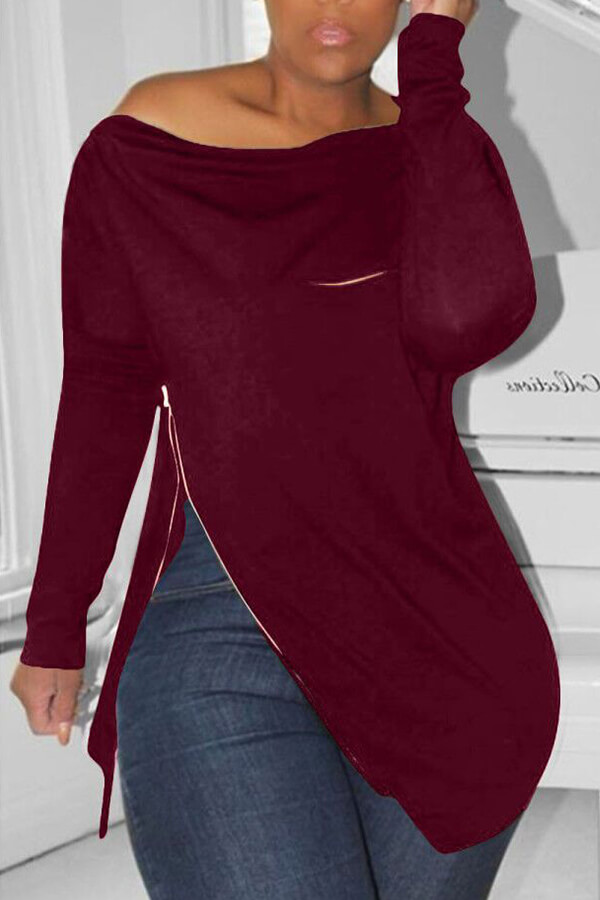 Lovely Casual Irregular Zipper Wine Red Hoodies