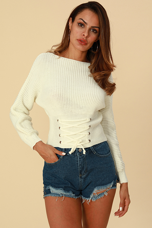 Lovely Trendy Lace-up White Sweaters