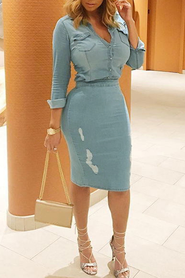 Lovely slit denim two pieces