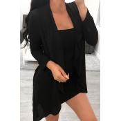Lovely Casual Irregular Black  Coats