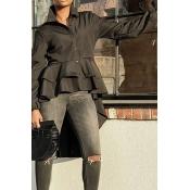 Lovely Vintage Dovetail Design Black Spandex Shirt