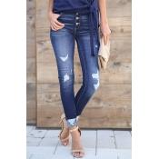 Lovely Fashionable Worn Out Design Blue Denim Jean