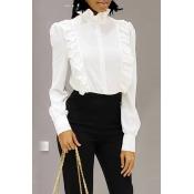 Lovely Fashion Flounce Design White Blending Shirt