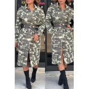 Lovely Casual Long Sleeve Camouflage Printed Coat