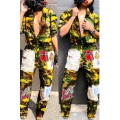 Lovely Euramerican Patchwork Camouflage Printed Yellow One-piece Jumpsuit