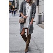 Lovely Euramerican Pockets Long Grey Cardigan Swea