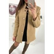 Lovely New Autumn Winter Casual Button Khaki Coat