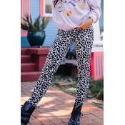 Lovely Trendy Leopard Print White Knitting Pants