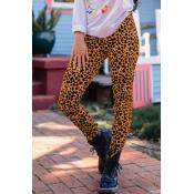 Lovely Trendy Leopard Print Yellow Knitting Pants