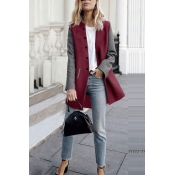 Lovely Trendy Patchwork Wine Red Coat