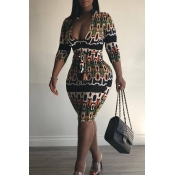 Lovely Sexy Multicolor Printing Knee Length Sheath