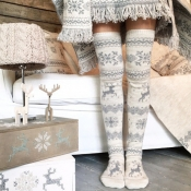 Lovely Sweet Christmas Knee-high Grey Socks