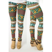 Lovely Trendy Christmas Printed Green Leggings