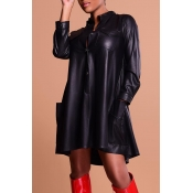 Lovely Fashion Long Sleeves Black PU Knee Length D