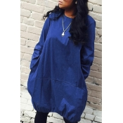 Lovely Euramerican Long Sleeves Loose Royal Blue Knee Length Dress