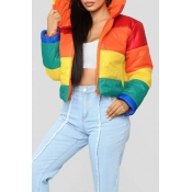 Casaco De Algodão Multicolor Acolchoado Listrado Multicolor