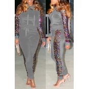 Lovely Casual Sequined Decorative Grey Two-piece P