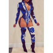 Lovely Sexy Long Sleeves Printed Royalblue One-piece Jumpsuit