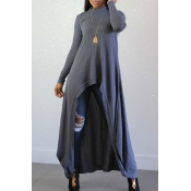 Lovely Casual Long Sleeves Irregular Grey Blending