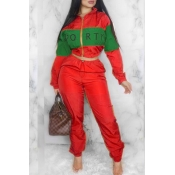 Lovely Trendy Patchwork Red Two-piece Pants Set
