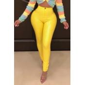 Encantadora Moda Flaco Amarillo Pantalones De PU