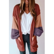 Lovely Casual Puff Sleeves Patchwork Red Sweater C
