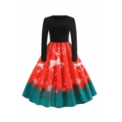 Lovely Sweet Christmas Printed Red Knee Length Dre
