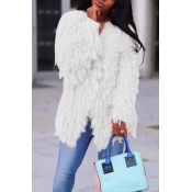 Lovely Casual Long Sleeves White Velvet Coat
