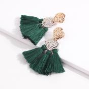 Lovely Fashion Tassel Metal Green Earring