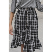 Lovely Casual Buttons Black and White Plaids Skirt