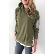 Lovely Fashionable Buttons Army Green Hoodies