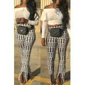 Lovely Fashion Houndstooth Printed Split Twilled S