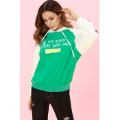 Lovely Casual Letters Patchwork Cyan Hoodies