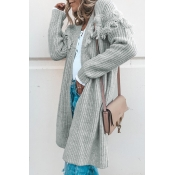 Lovely Fashion Long Sleeves Tassel Grey Sweater Ca