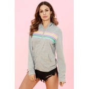 Lovely Casual Long Sleeves Striped Printed Grey Ho