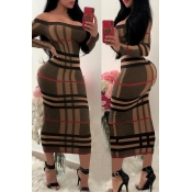 Lovely Fashion Striped Printed Brown Mid Calf Dres