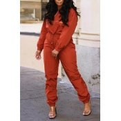Lovely Casual Long Sleeves Jacinth Two-piece Pants Set