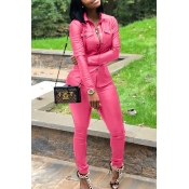 Lovely Casual Buttons Decorative Pink PU Two-piece Pants Set