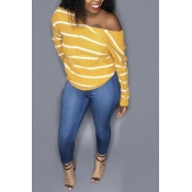Lovely Casual Striped Yellow Knitting Sweaters