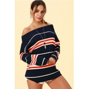 Lovely Trendy Dew Shoulder Deep Blue Acrylic Sweat