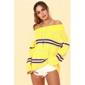 Lovely Trendy Dew Shoulder Yellow Acrylic Sweaters