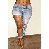 Lovely Fashion Mid Waist Broken Holes Light Blue Denim Pants