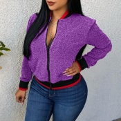 Lovely Casual Long Sleeves Purple Coat