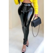 Lovely Fashion Zipper Black PU Pants