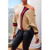Lovely Trendy Patchwork  Khaki Sweaters